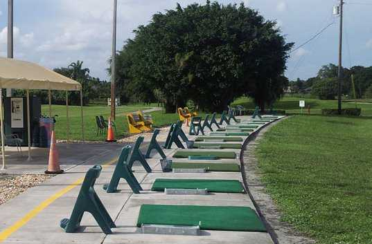 A view of the driving range tees at Cooper Colony Country Club