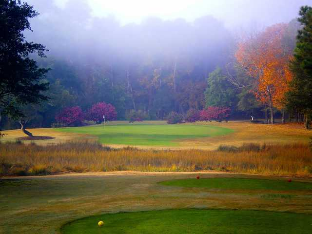 A view of the 2nd green at Lockwood Folly Country Club
