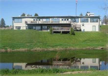 A view of the clubhouse at River Edge Golf Course
