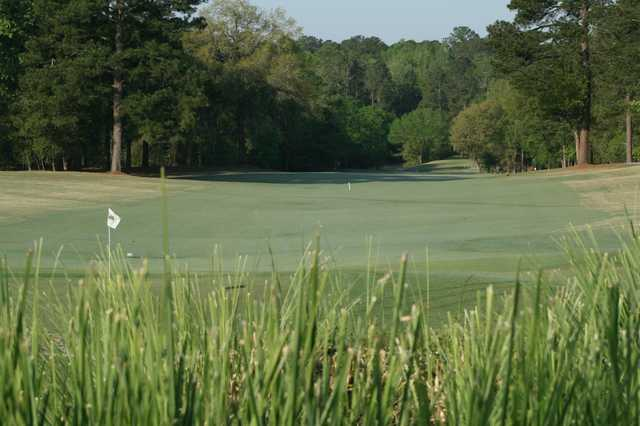 A view of the 18th hole at Legend Oaks Golf Club