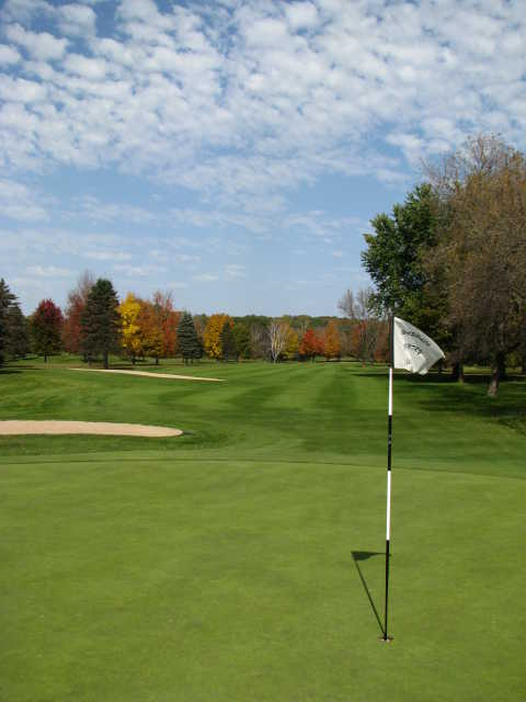 A fall view of a hole at Waupaca Country Club