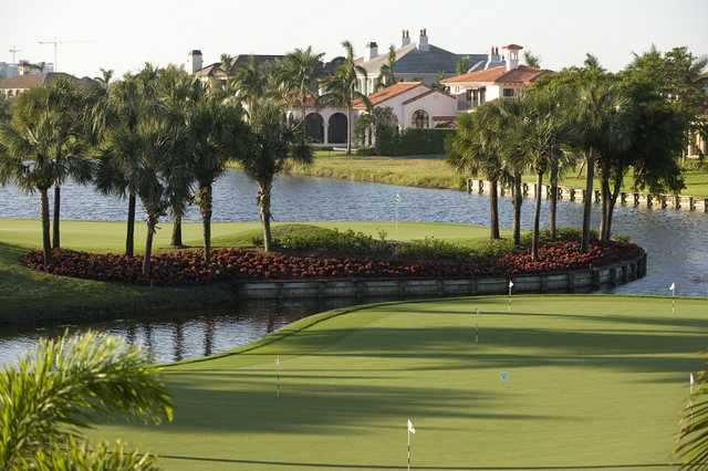 A view of the practice putting green at Bay Colony Golf Club