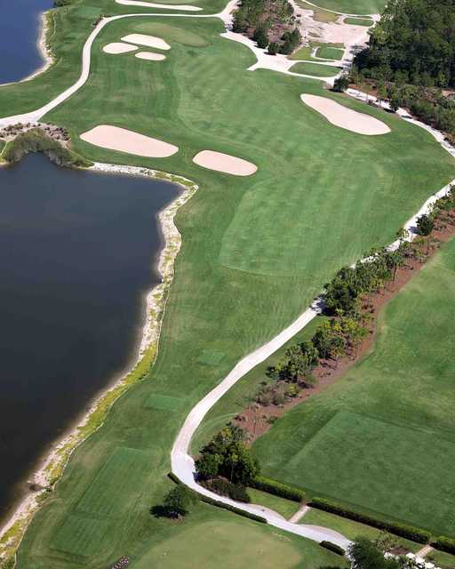 Aerial view of the 1st fairway at Hideout Golf Club