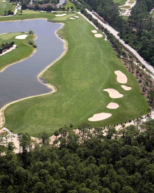 Aerial view of the 12th fairway at Hideout Golf Club