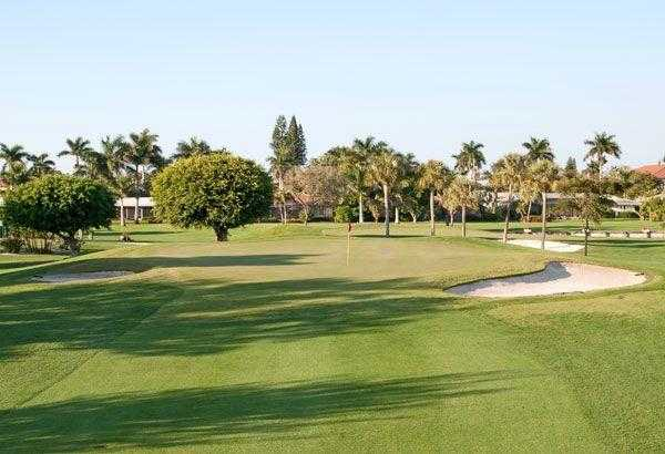 A view of the 2nd green at Moorings Country Club