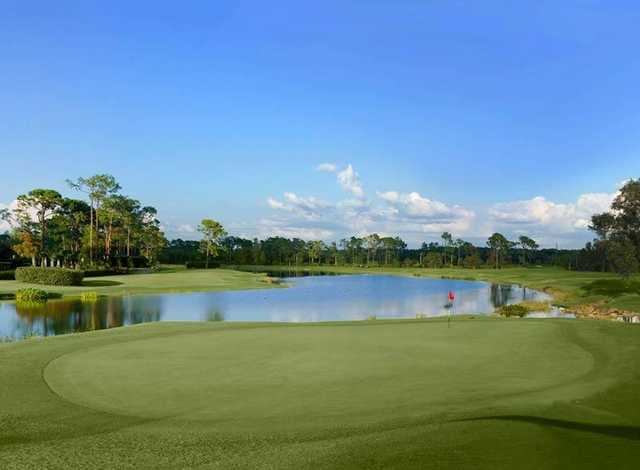 A view of green with water coming into play at Naples Grande Golf Club