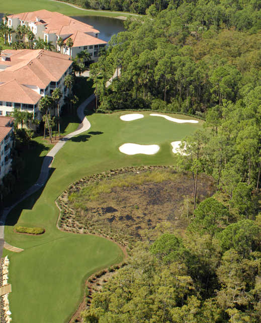 Aerial view of the 1st hole at Naples Lakes Country Club