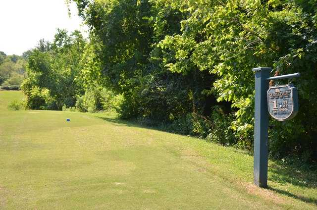 A view of tee #1 sign at LeFleur's Bluff Golf Course