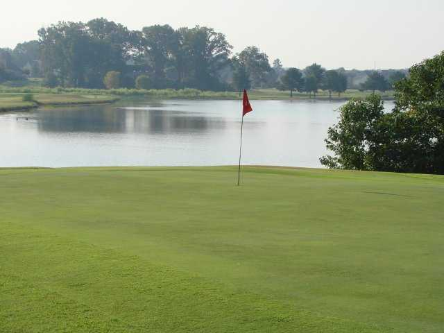 A view of green with water coming into play at Timber Truss Golf Course.