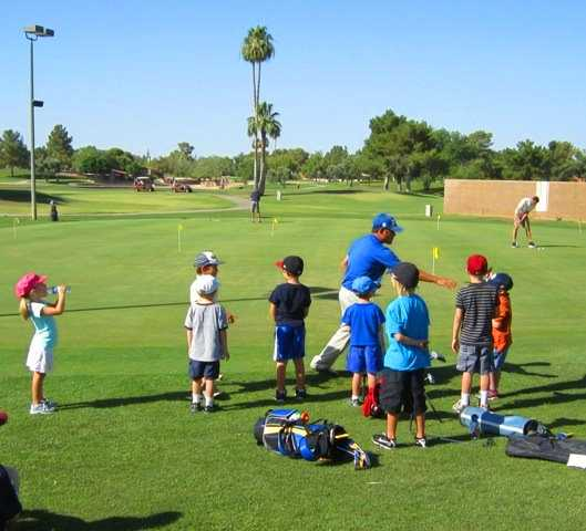 A view of the practice putting green at Dobson Ranch Golf Course