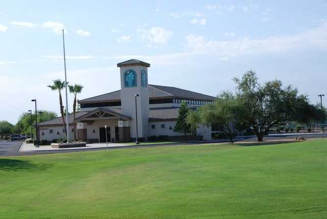 A view of the clubhouse at Sunland Springs Village