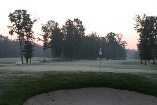 A sunrise view of the 9th hole at Refuge Golf Course