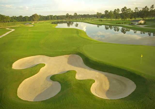 A view of the 18th hole from the Tournament Course at Golf Club of Houston