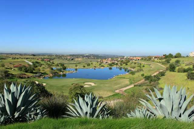 A view of a hole with water coming into play at Santaluz Club