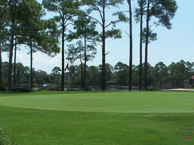 A view of the 4th green at Marsh Course from Bluewater Bay Resort