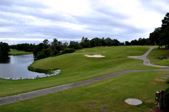 A view of green protected by bunker at Rocky Bayou Country Club.