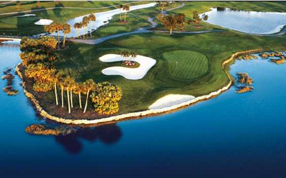 Aerial view of the 18th hole at Palmer Course from PGA National Resort & Spa.