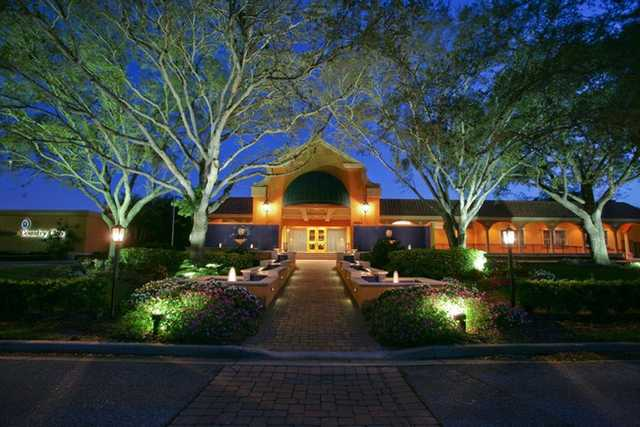 An evening view of the clubhouse at Bradenton Country Club