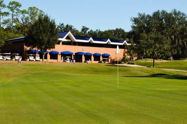 A view of the clubhouse and hole #18 from Mark Bostick Golf Course at The University of Florida