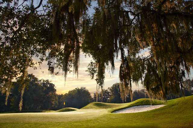 A view of a green guarded by a bunker at Haile Plantation Golf & Country Club