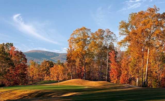 A fall view of the 16th hole at Cider Ridge Golf Club.
