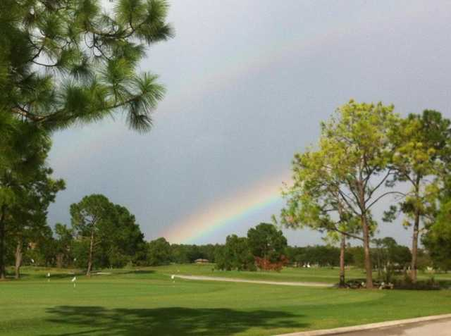 A view of rainbow over the practice area at Hunter's Creek Golf Club