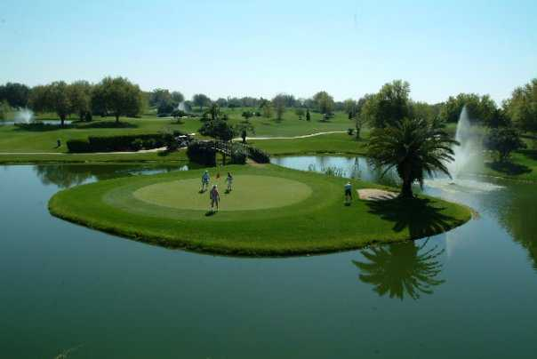 A view of the island green at Baseline Golf Course