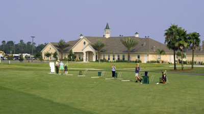 A view of the driving range tees at SummerGlen Country Club