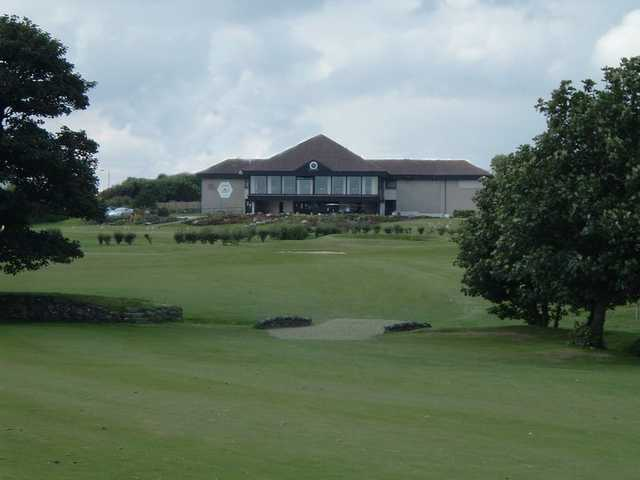 A view of fairway #9 with clubhouse in background at Portlethen Golf Club