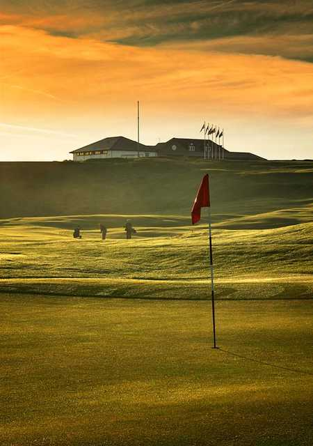 A view of the clubhouse from green #1 at Balcomie Links Course from Crail Golfing Society