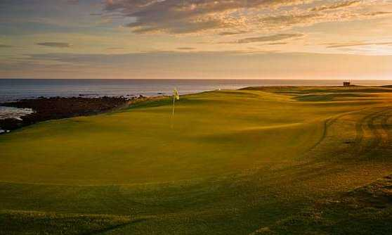 A view of the 3rd green at Balcomie Links Course from Crail Golfing Society