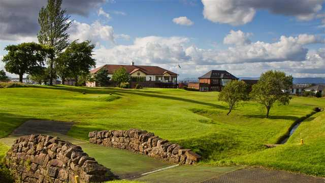 A view of the clubhouse from fairway #1 at Kirkhill Golf Club.