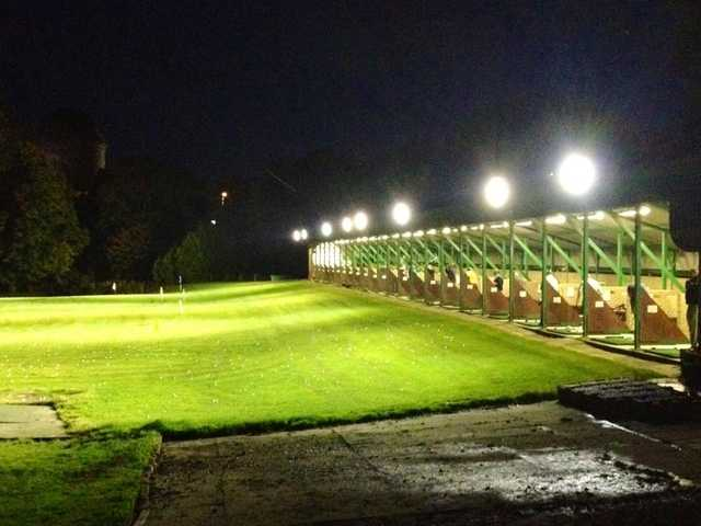 A night view of the driving range tees at Strathclyde Park Golf Club