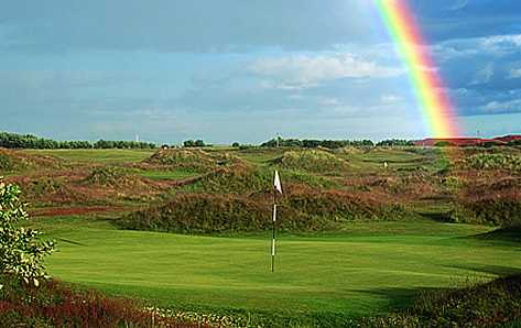 A view of rainbow over green at Panmure Golf Club
