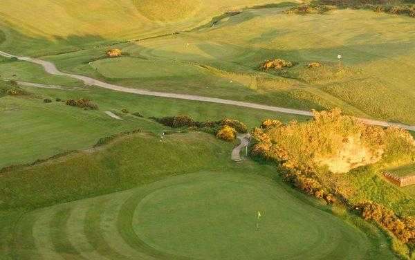 Aerial view of the 3rd green at Shiskine Golf & Tennis Club