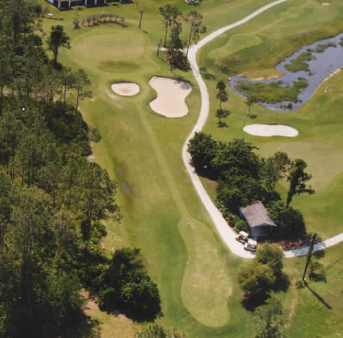 Aerial view of hole #14 at Deep Creek Golf Club
