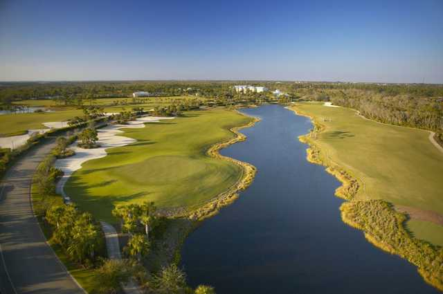 Aerial view of the 17 hole and the 18 fairway at Raptor Bay Golf Club