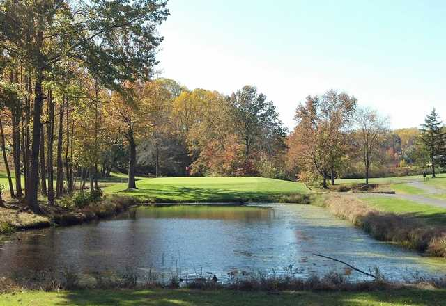 A fall view over the water from Cream Ridge Golf Club