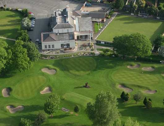 Aerial view of the clubhouse at Clontarf Golf Club