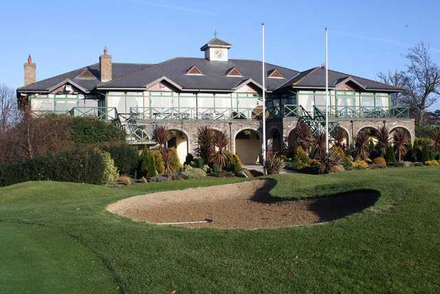 A view of the clubhouse at Malahide Golf Club
