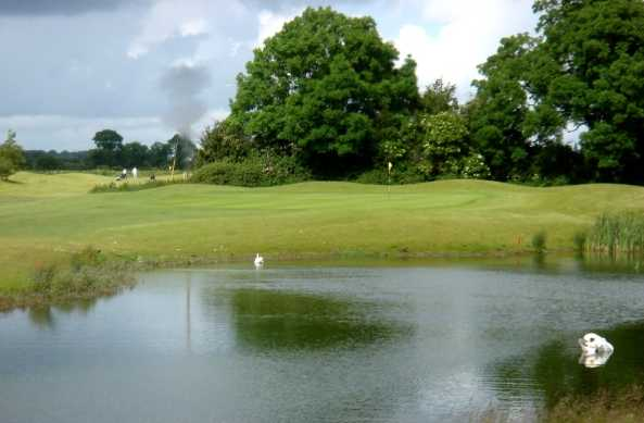 A view over the water of green at Swords Golf Club