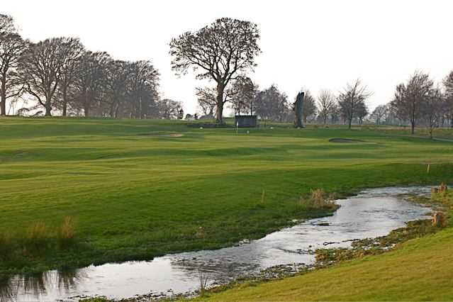 A view of a hole guarded by bunkers at Athy Golf Club