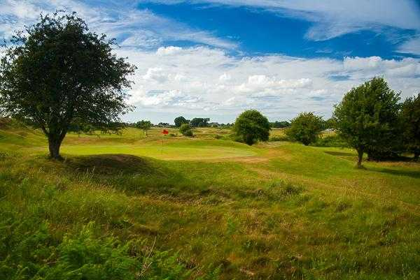 A view of green #14 at Holywell Golf Club