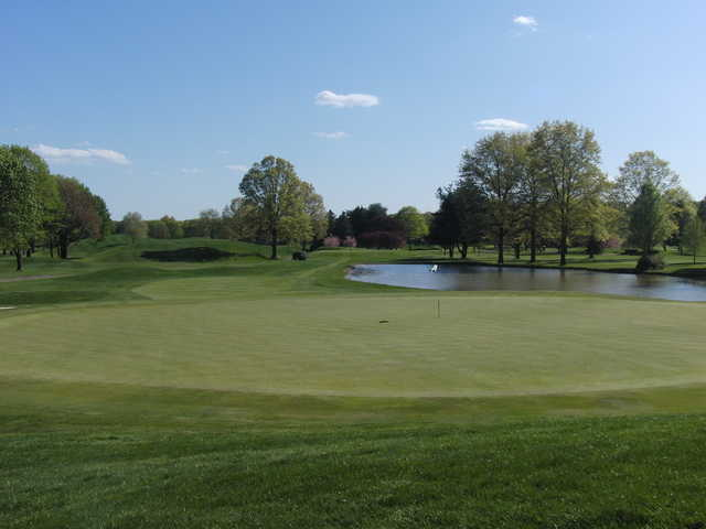 A view of a green with water coming into play at Tam O'Shanter Golf Club