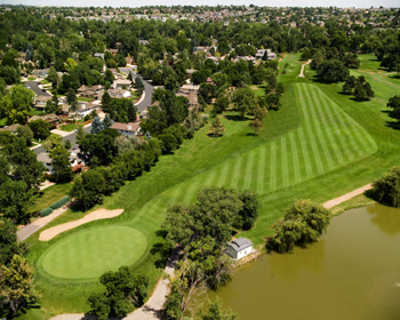 Aerial view of the 4th hole at Blue Course from Greg Mastriona Golf Courses at Hyland Hills