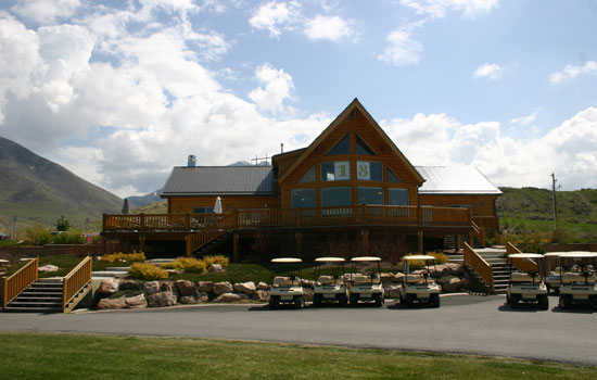 A view of the clubhouse at Oquirrh Hills Golf Course