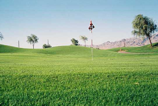 A view of the 10th green at Mojave Resort Golf Club