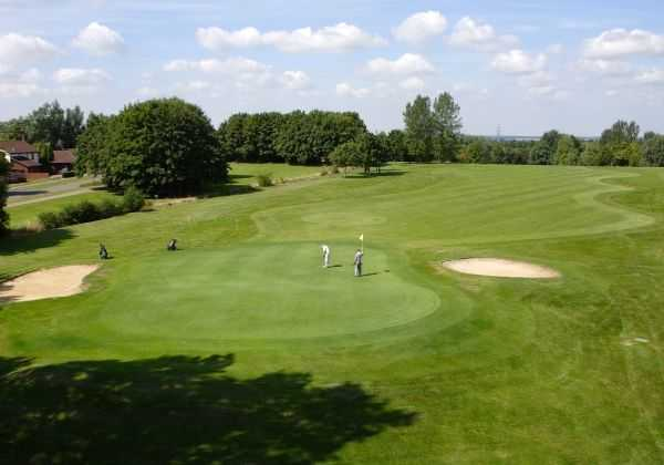 A view of the 16th green at Main Course from Abbey Hill Golf Centre