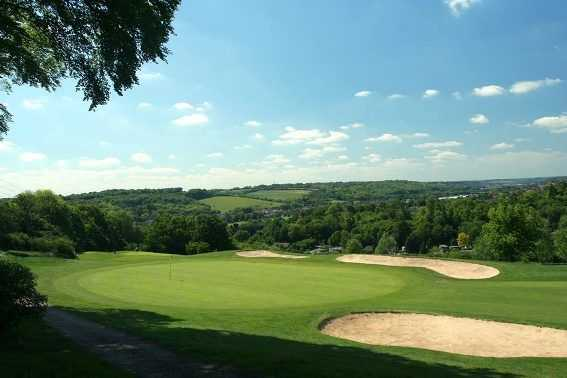 A view of green protected by bunkers at Wycombe Heights Golf Centre