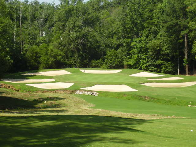 A view of hole #12 guarded by bunkers at Ashton Hills Golf Club